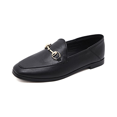 T-JULY Womens Penny Loafer Shoes Lightweight Casual Retro Slip-On Driving Square Toe Flat Moccasin Black