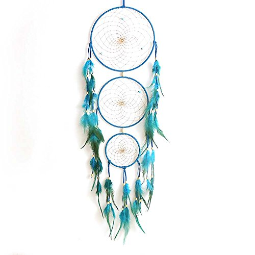 [Handmade Indian Blue Dream Catcher Net with feathers Wall Hanging Dreamcatcher Craft Gift] (Blue Bull Mascot Costume)