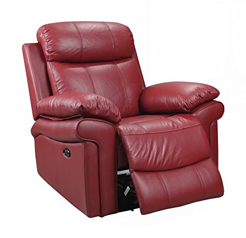 Red Leather Recliners (Oliver Pierce OP0042 Hudson Leather Power, Recliner, Red)