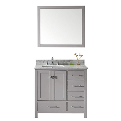 Virtu USA GS-50036-Wmsq-CG-002 Caroline Avenue Single Bathroom Vanity with Marble Top/Square Sink with Polished Chrome Faucet/Mirror, 36