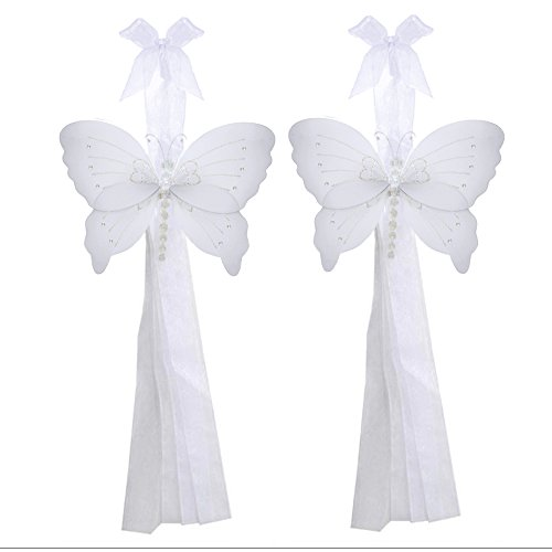 Butterfly Curtain Tiebacks White Crystal Nylon Butterflies Pair Set Decorations Window Treatment Holdback Sheer Drapes Holder Drapery Tie Back Decorate Baby Nursery Bedroom Girl Room Kids Decor Home from Bugs-n-Blooms