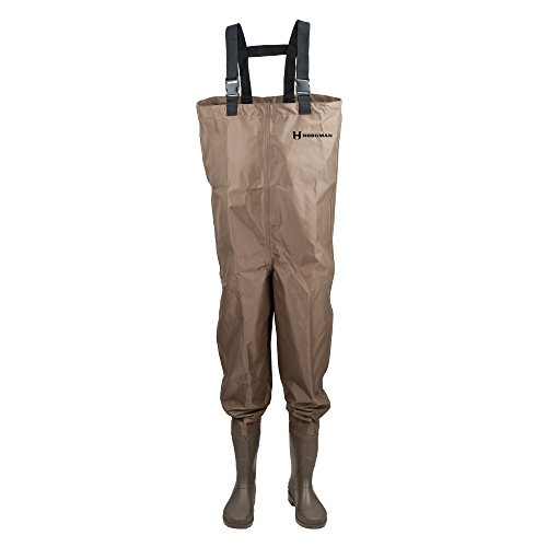 Hodgman MACKCBC10 Mackenzie Nylon and PVC Cleated Bootfoot Chest Fishing Waders, Size 10, Brown