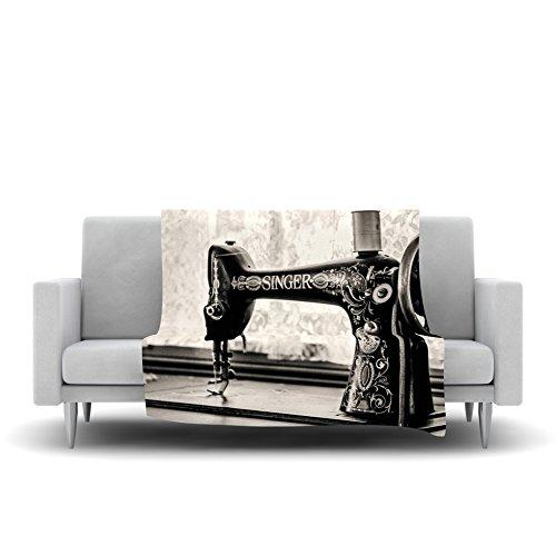 Kess InHouse Debbra Obertanec Vintage Home Black Gray Fleece Throw Blanket 60 by 50