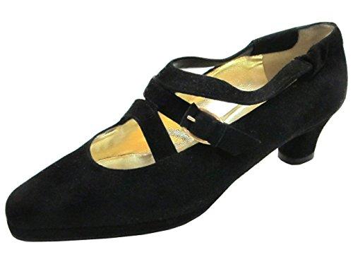 Barbar 4028 Kvinna Italienska Mocka Dressat Låg Klack Skor