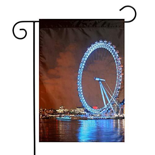 Kjaoi London Ferris Wheel Night Landscape Festival Garden Flag Front Door Flag Decorative Home Outdoor Flag 1218 Inch -