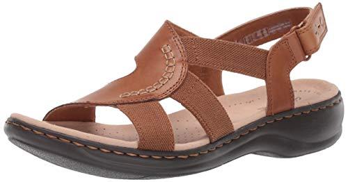 CLARKS Women's Leisa Joy Sandal, tan Leather, 060 M US