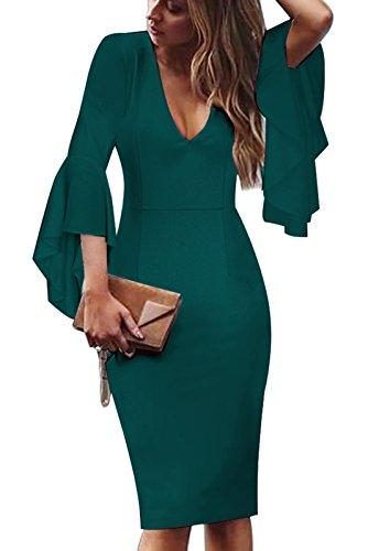 Iyasen Womens Summer Elegant 3/4 Flare Bell Sleeve V Neck Wear to Work Party Cocktail Sheath Dress Dark Green S