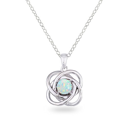 Sterling Silver Simulated White Opal Polished Love Knot Pendant Necklace