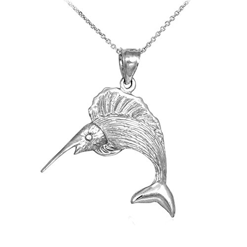 red Sailfish Charm Pendant Necklace, 22