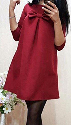 Coolred Line Sleeve A Red Pockets 3 With Dresses Women Wine 4 IqXtwrAXx