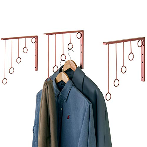 MyGift Wall-Mounted Rose Gold-Tone 5-Level Garment Display Racks, Set of 3 ()