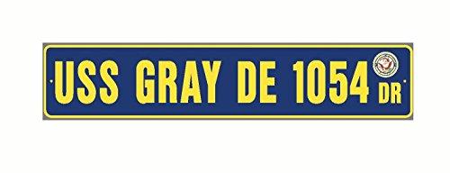 USS GRAY DE 1054 Street Sign Aluminum Navy Blue / Yellow 6