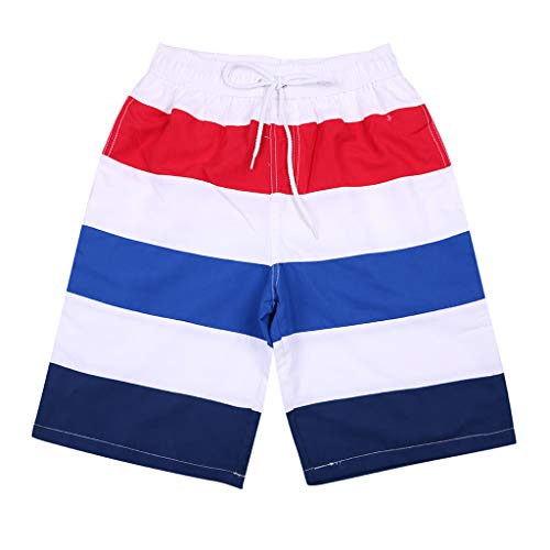 Men 's Beach Shorts,Male Summer Striped Casual Swim Trunks Surfing Running Swimming Watershort