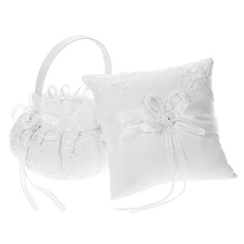 Walmeck 7 7 inches Ivory White Satin Ring Bearer Pillow and Wedding Flower Girl Basket Set