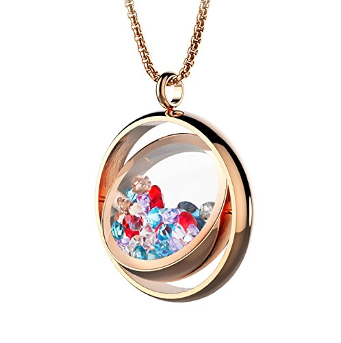 BOFEE Floating Locket Pendant Necklaces Living Memory Charms Locket Pendant 316L Stainless Pendant Rotatable Jewelry Design with 100pcs Charms -Rose Gold -