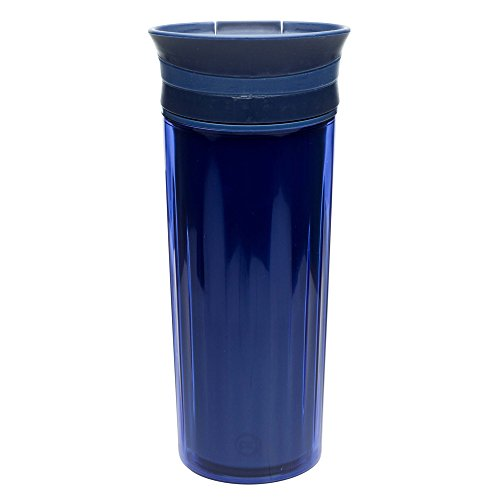 Zak! Designs Insulated Fluted Travel Tumbler in Indigo, BPA-free and Break-resistant Plastic, Double Wall Construction and Leak-proof Slide Lid, 16 oz. Capacity (Oz Fluted 16 Clear)