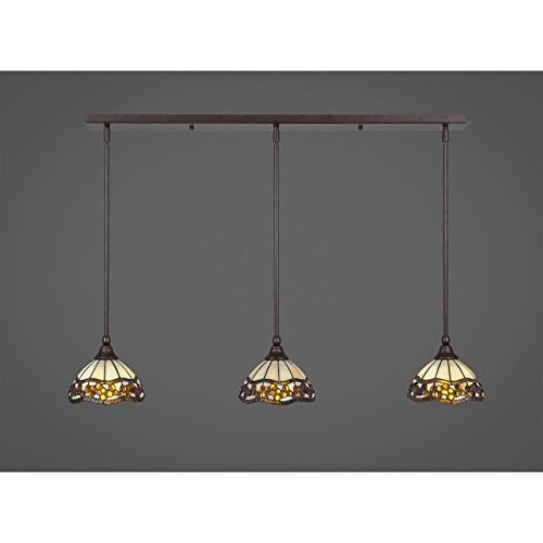 Toltec 3 Light Multi Light Mini Pendant with Hang Straight Swivels in Bronze with 7