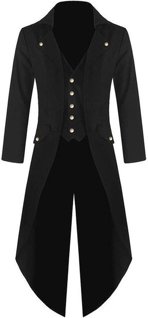 B/ühne Hochzeit Cocktailparty Setsail Herren Vintage Windbreaker Steam Punk Gothic Retro Frack Fashion Long Mantel Elegant Bequem Button Coat Winddicht Jacke Outdoorjacke Geeignet f/ür Business