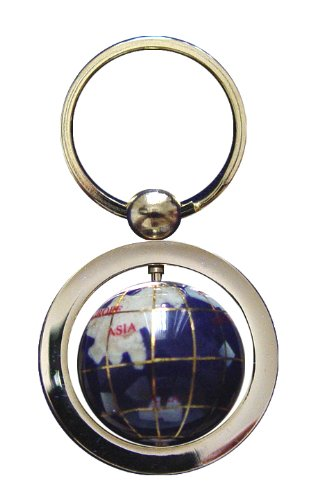 Unique Art 1 Inch Diameter Blue Lapis Ocean Gemstone World Globe Keychain With Gold Keyring