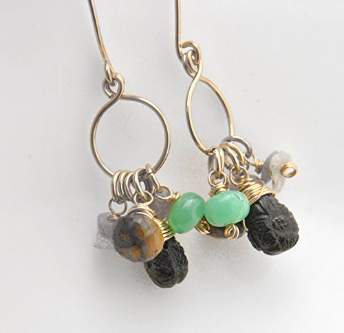 Gold Cluster Tourmaline Drop 14kt - Tourmaline, Tiger's Eye, Chrysoprase, Australian Opal, Spinel 14kt yellow gold fill Earrings