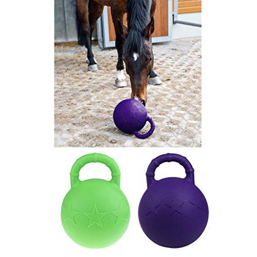 Kesoto 2Pcs Pony Bounce Jolly Ball Stable Field Toy Anti-Burst Horse Soccer Balls, Green and Purple by Kesoto (Image #3)