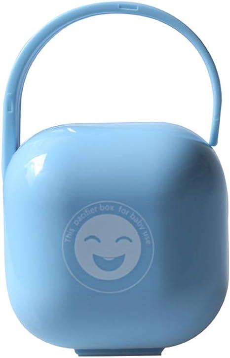 Titular chupete chupete Box bebé Chupete Pezón almacenamiento Viajes portátil la caja a prueba de polvo de la manija titular de contenedores cuna (azul): Amazon.es: Bebé