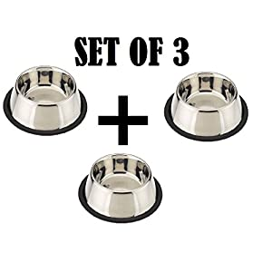 Pets Empire Small Dog's and Cat's Steel Feeding Bowl (Set of 3)