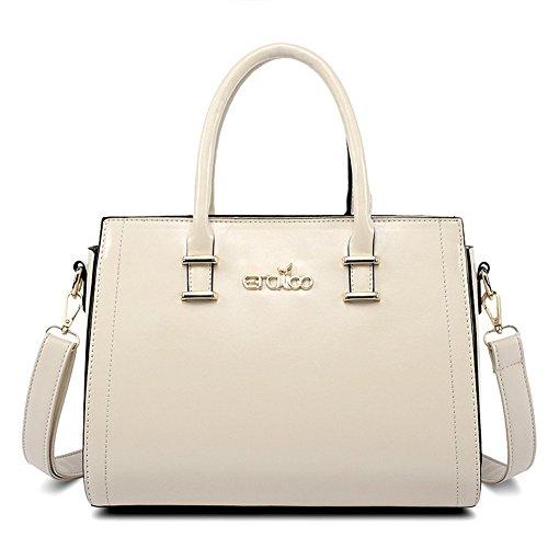 QCKJ-Borsa da donna, cerniera a Bandbag PU, colore: bianco