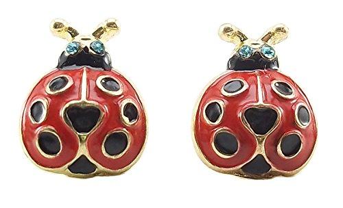 DaisyJewel Red Ladybug Crystal Enamel Stud Earrings