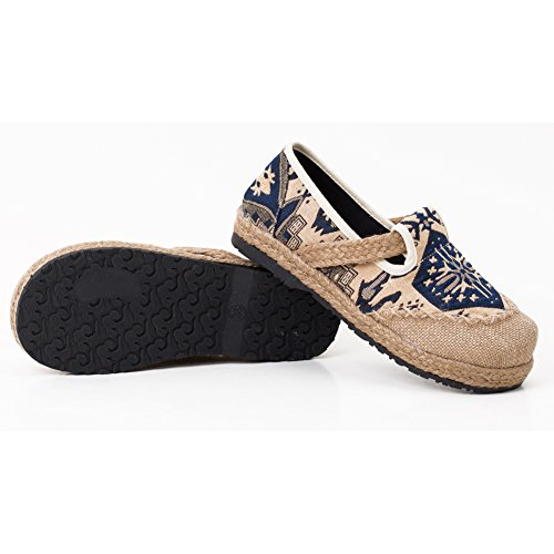 fereshte Hand-Made Chinese Style Embroidered Linen and Cotton Slip-on Women Espadrilles 532blue muJnpb