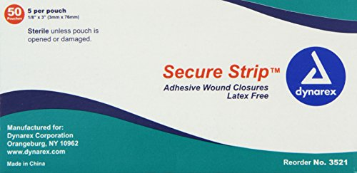 Dynarex Wound Closure Strips, Sterile, 1/8 X 3 Inch, 50 Count