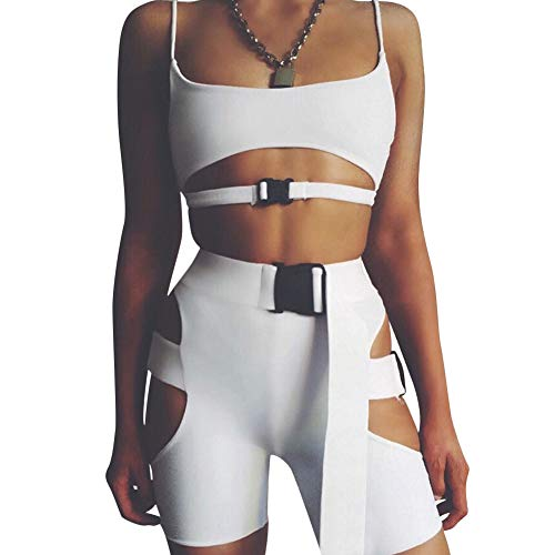 - Womens Sexy Bandage 2 Piece Clubwear - BodyconSleeveless Strapless Tank Crop Top and Shorts Set Jumpsuit White