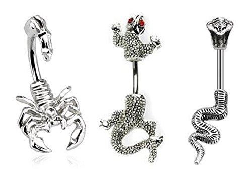 (3pcs) Scorpion Chameleon Lizard Cobra Snake Belly Navel Rings 14G (Chameleon Belly Ring)
