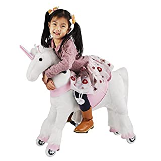 Girl's Gift Mechanical Ride on Unicorn Simulated Horse Riding on Toy Ride-on Toys :More Comfortable Riding with Gallop Motion for Kids 3-6 Years