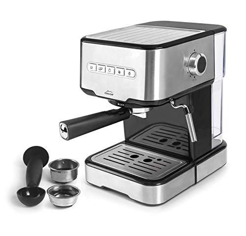 Lacor 69256 – Cafetera espresso con 2 salidas de café y función de calentar/espumar la leche, apta para café molido y…