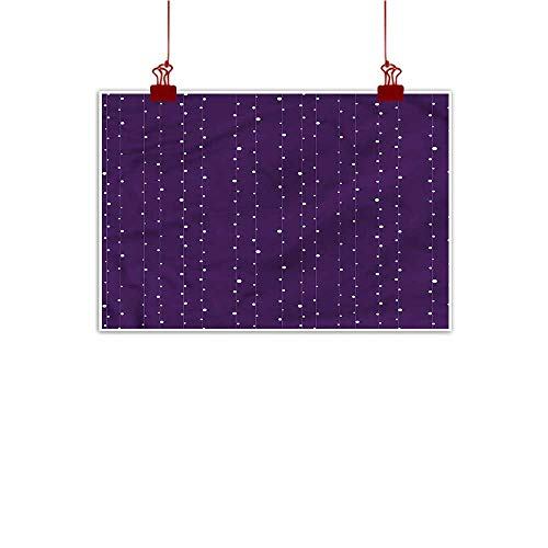 (Mangooly Wall Art Print Home Decor Violet,Stripes with Polka Dots 48