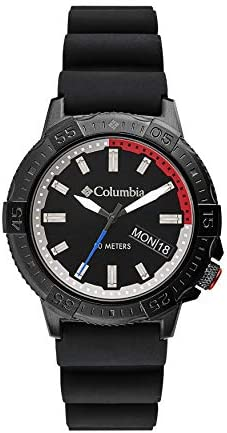 Columbia Peak Patrol Stainless Steel Quartz Sport Watch with Silicone Strap, Black, 13 (Model: CSC03-001)