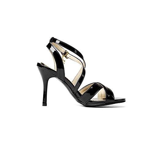 Balamasa Ladies Spikes Stilettos Fibbie In Metallo Sandali Con Tacco In Uretano Peep-toe Neri