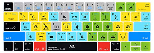 WYGCH Premiere Pro CC Shortcuts Hotkey Ultrathin Keyboard Cover Compatible MacBook Pro 13 15 inch 2019 2018 2017&2016 with Touch Bar&Touch ID Model:A2159 A1989 A1706/A1990 A1707,USA Version