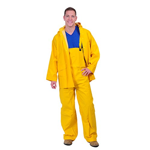 Galeton 7949-L-YW 7949 Repel Rainwear Economy 3 Piece Rain Suit, 0.20 mm PVC, Yellow, Large ()
