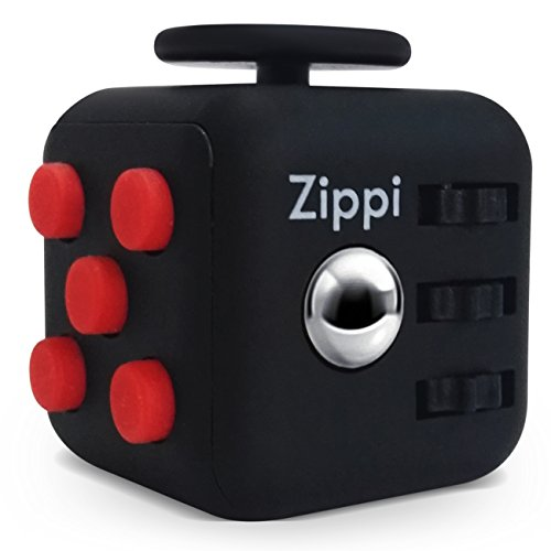 Zippi Best Fidget Cube by Prime toy. reduce anxiety and Stress Relief for Autism, ADD, ADHD & OCD. (Red Black) (Tactile Cube)