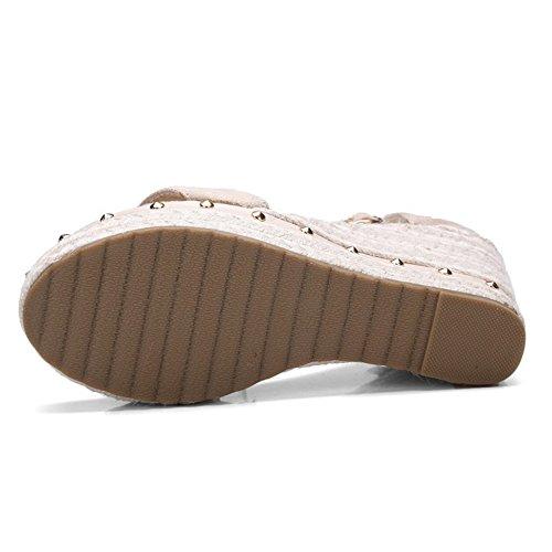 COOLCEPT Mujer Moda Al Tobillo Sandalias Punta Abierta Tacon de Cuna Zapatos Albaricoque