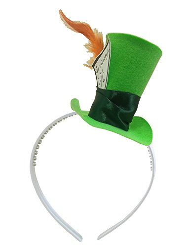 [Green Mini Top Hat Headband Mad Hatter Tea Party Alice in Wonderland Decoration] (Kids Mad Hatters Tea Party Costumes)