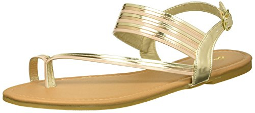 Qupid Women's Flat Sandal with Toe Ring, Gold 8.5 M US
