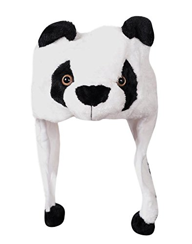 Devil Krystle Soft Faux Fur Plush Stuffed Cute Panda Animal Costume Cap with Toy Hood for Boys and Girls (White, Free Size)