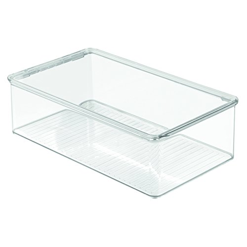 InterDesign Closet Storage Organizer Shoe Box, for Flats, Athletic Shoes, Sandals - Clear (Flat Storage Box)