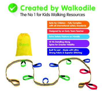 Kids Walking Rope, Grab & Go (10 child). Teacher Designed, Premium Quality. Extra Safety Feature on Handles. Hi Viz Detail for Increased Visibility