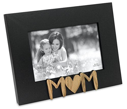 Isaac Jacobs Black Wood Sentiments Mom Picture Frame, 4x6 inch, Photo Gift for Mother, Family, Display on Tabletop, Desk (Black) ()