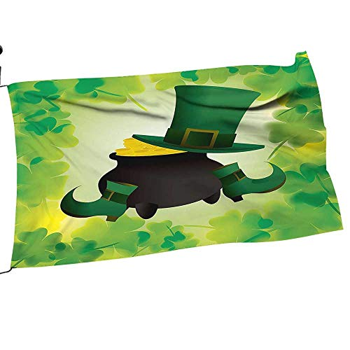 painting-home Garden Flag Army Leprechaun Hat and Sho Costume Pot Gold Shamrock Leav Green Premium Quality Durable Material20 x -