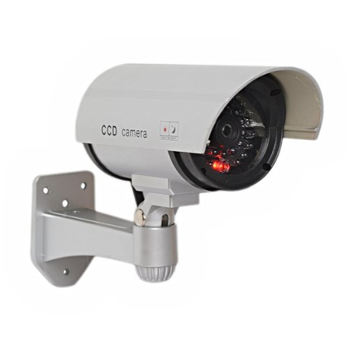 Foxnovo Realistic Looking Emulational Dummy IR Security Camera with Flashing Red Light Color Silver For Sale